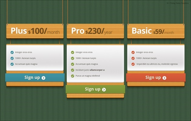 web pricing list PSD
