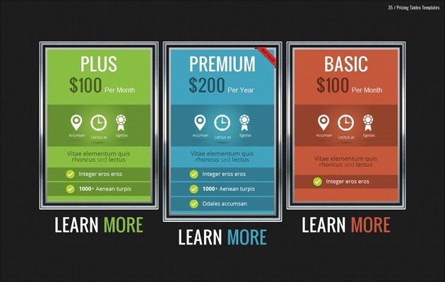 web pricing table Photoshop