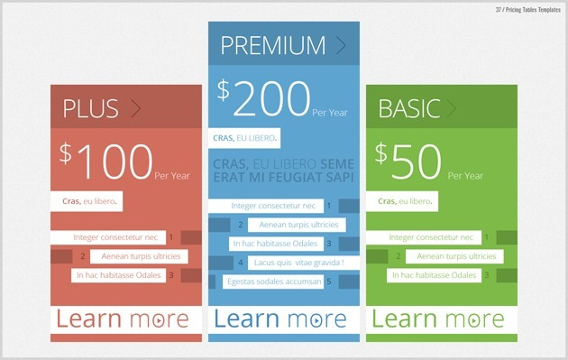 web pricing table graphic