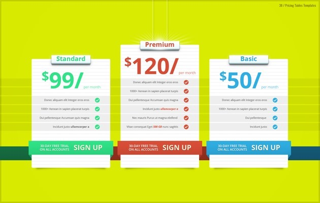 web pricing list graphic