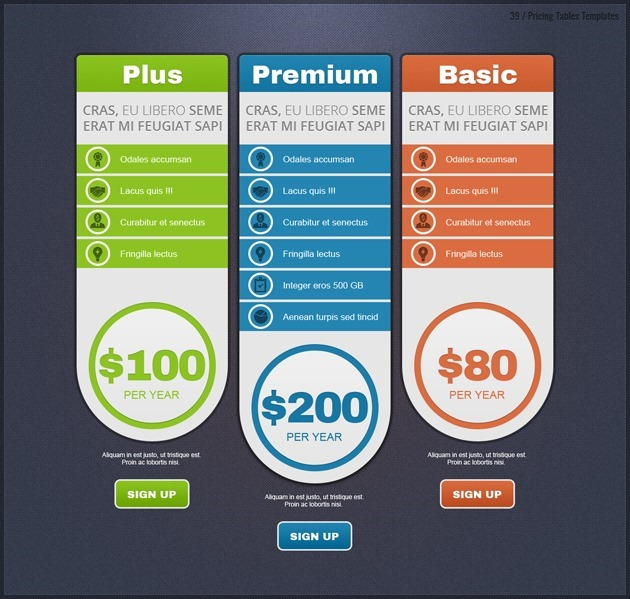 web pricing table template