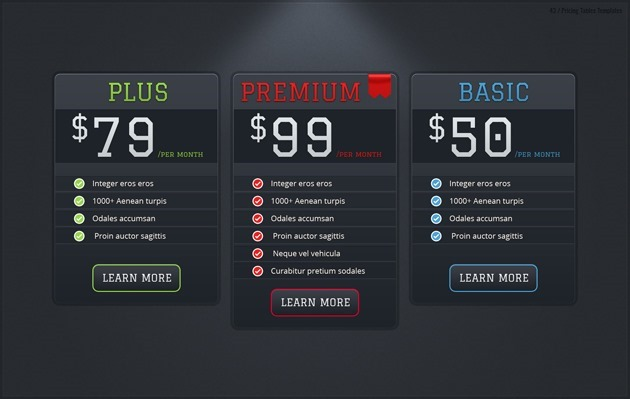 web pricing table design