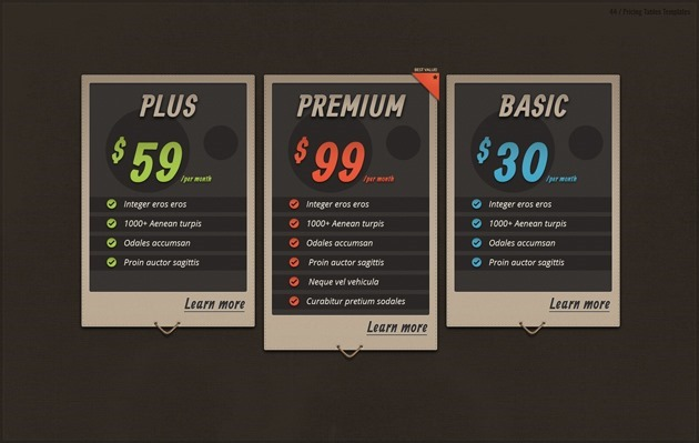 web pricing list design