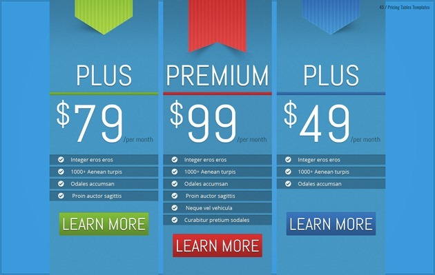 web design pricing table