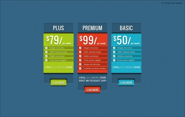 web design pricing table pack