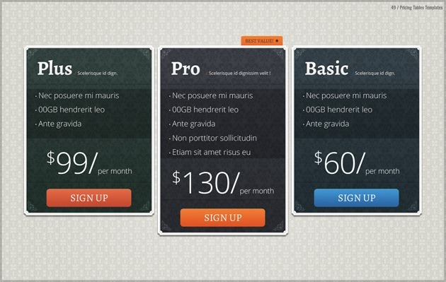 web design pricing table PSD