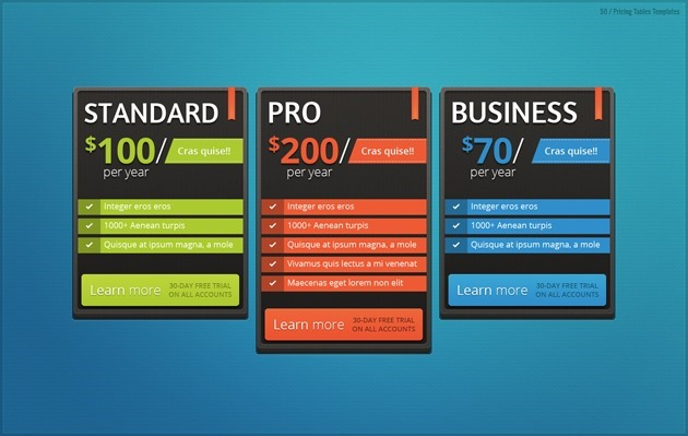 web design pricing list PSD