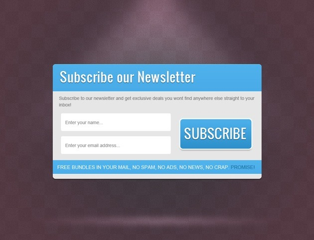 Blue Subscribe form