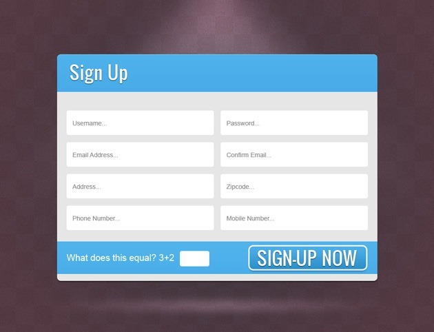 Blue Sign up form