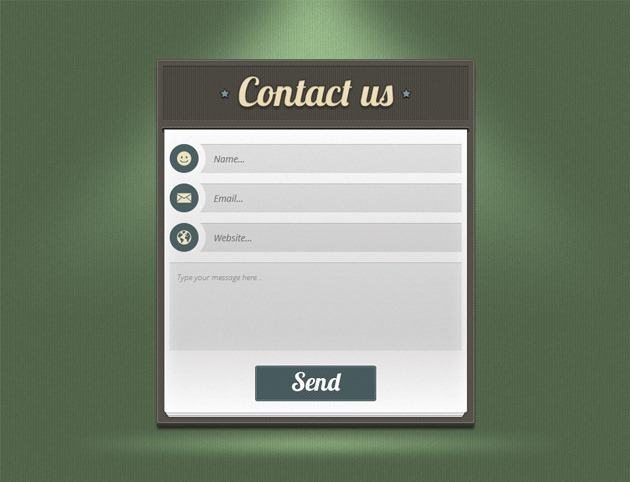 Green Contact form PSD