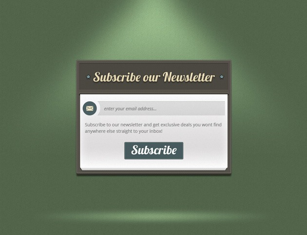 Green Subscribe form PSD