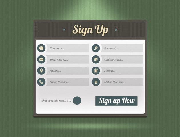 Green Sign up form PSD