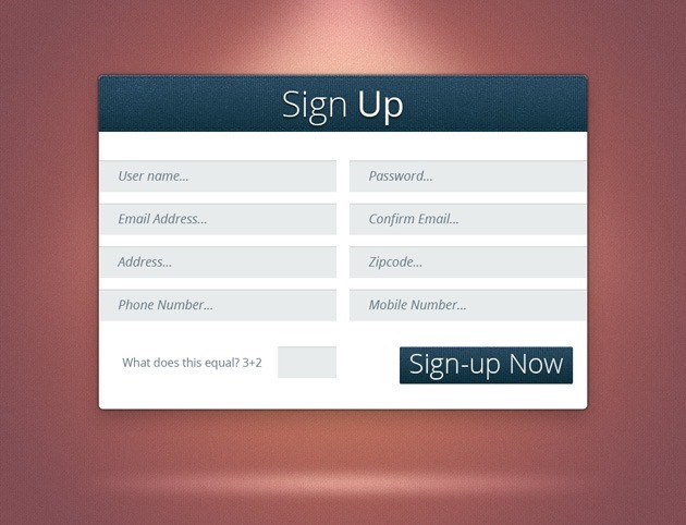 Sign up form PSD