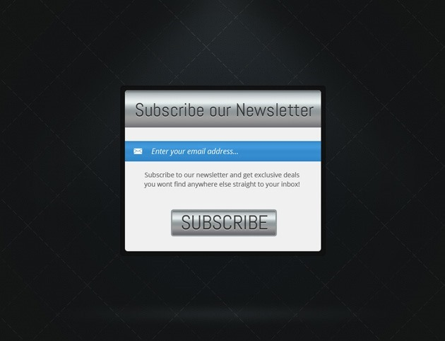 Silver Subscribe form PSD