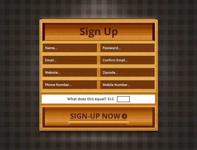 Wood Sign up form PSD