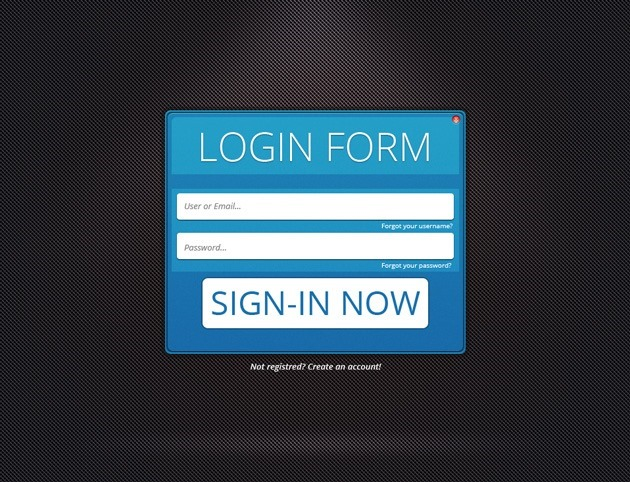 Web Login form PSD