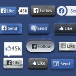 600 Facebook Buttons: Editable Vector PSD