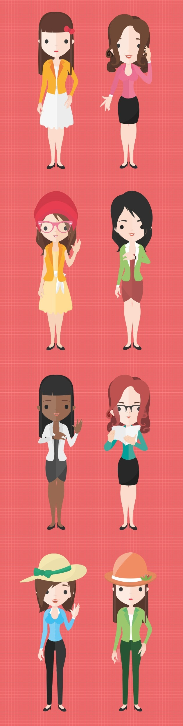 Simple Character Design Illustrator : Flat characters