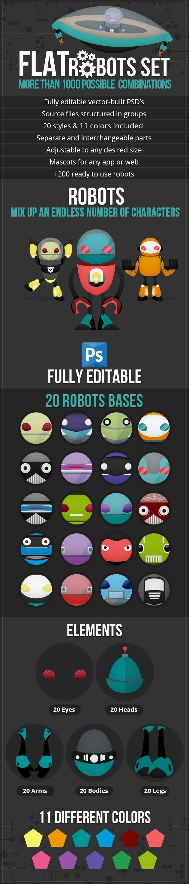 Robot vector pack: 1000 free robot characters !