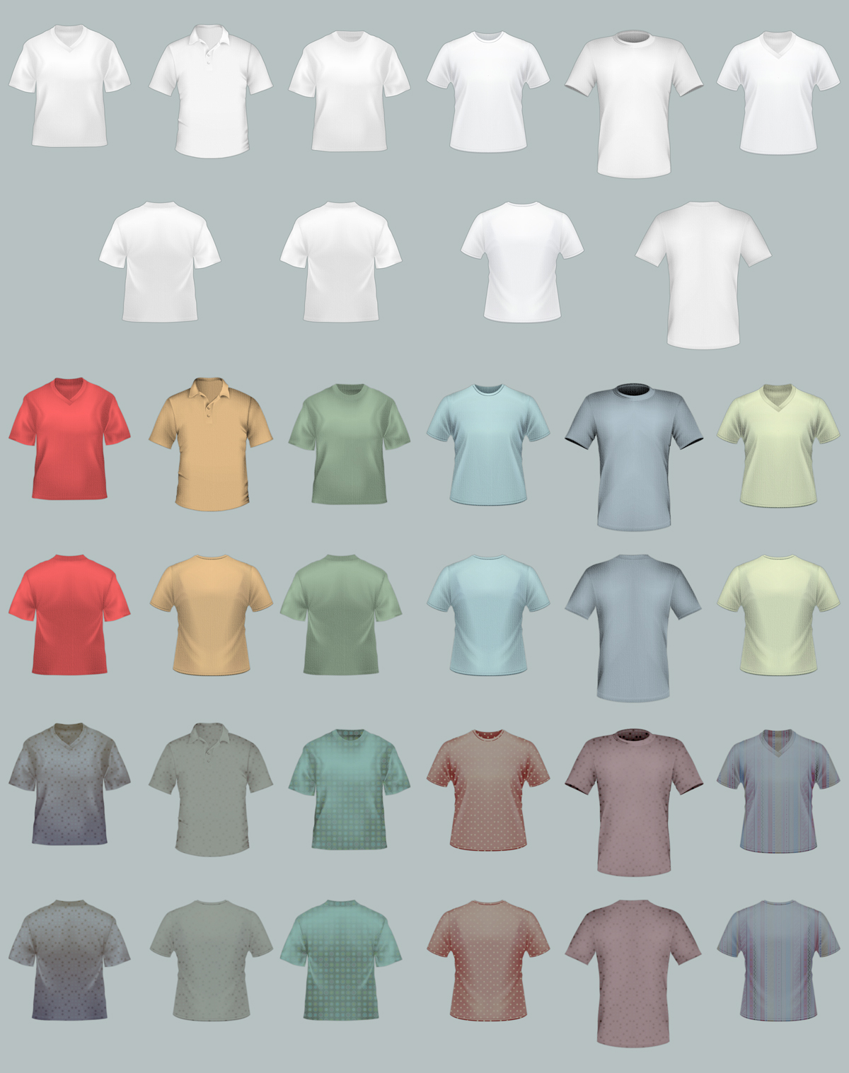 T Shirt Template Pack Psd Vector Files Designshock Shockfamily