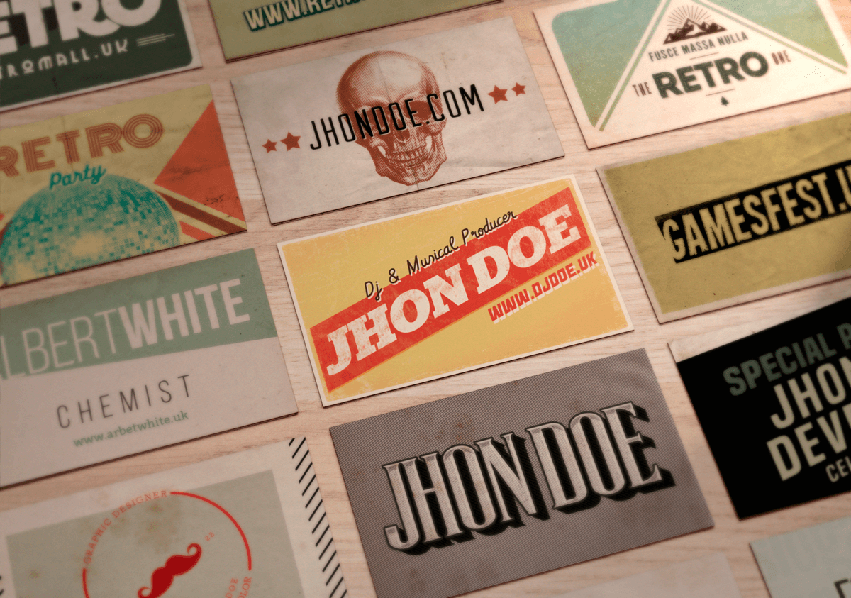 50 Vintage Business Cards in PSD & AI - Designshock - Shockfamily