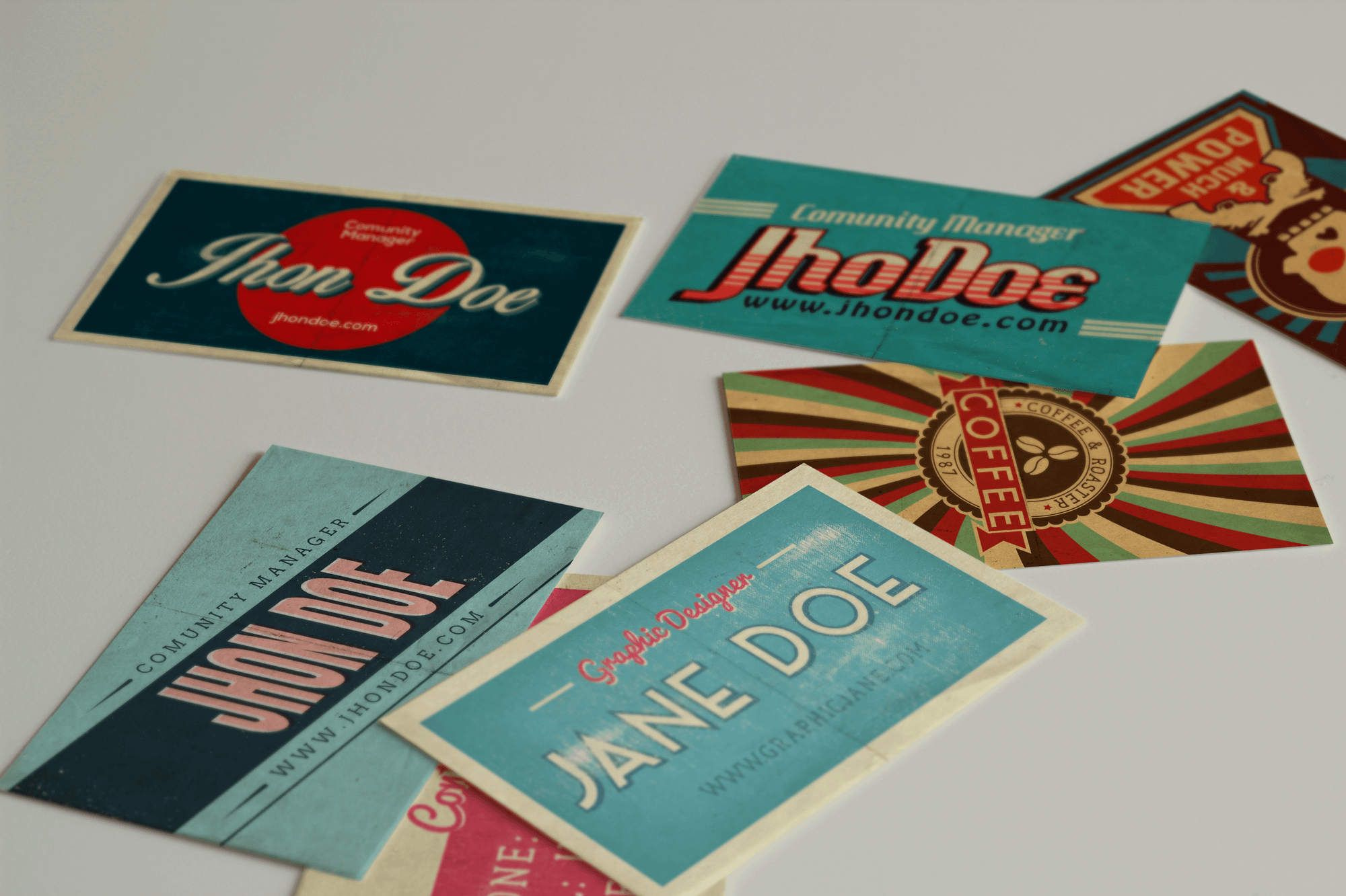 50 Vintage Business Cards in PSD & AI Design Shock