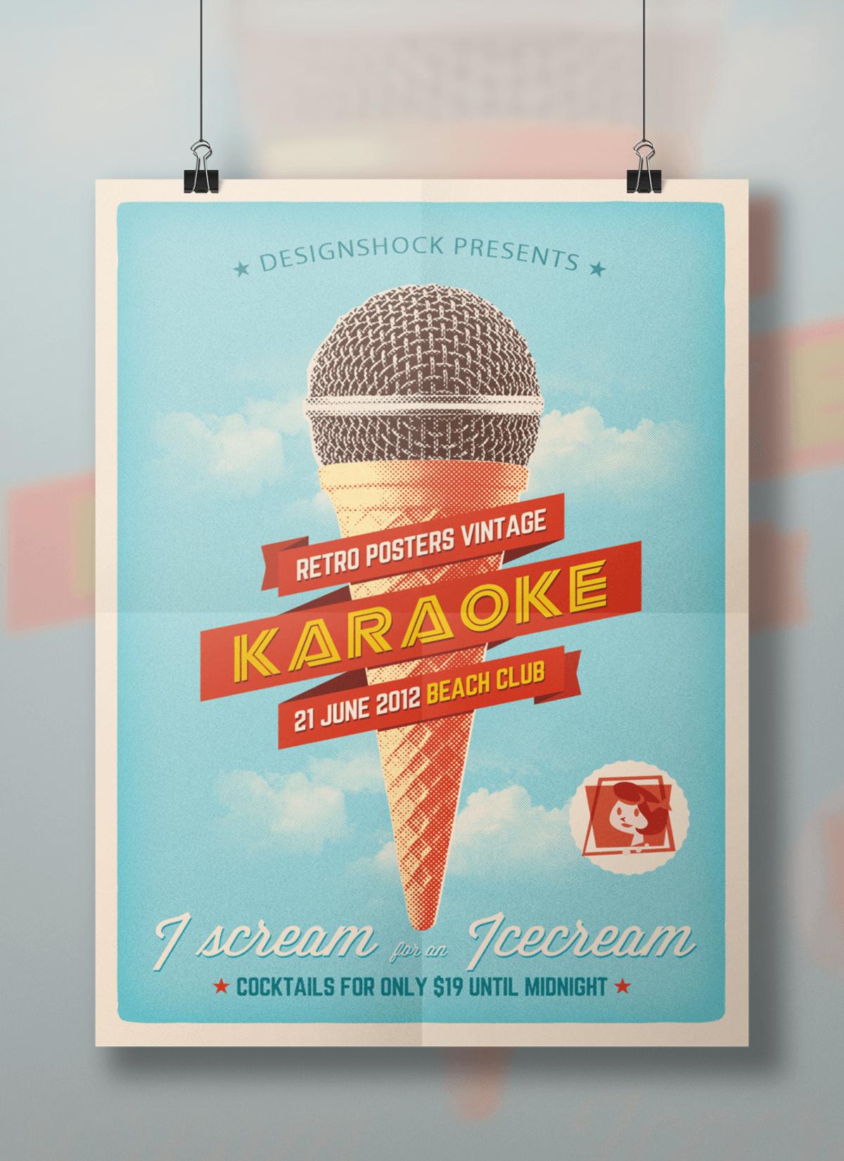 poster-vintage-karaoke-beach